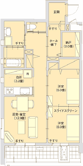A Plan(2LDK) 住戸専有面積…70.28㎡(約21.26坪)