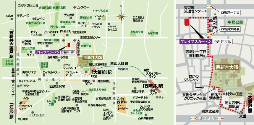 「グレイプスガーデン西新井大師」周辺地図