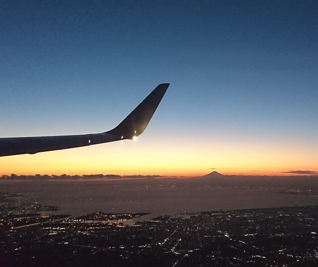 飛行機から拝んだ新年の富士山